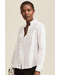 Aspiga Carrie Organic Cotton Dobby Lace Blouse   - White