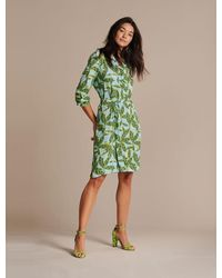 POM Amsterdam Cheetah Leaves Blue Dress - Green