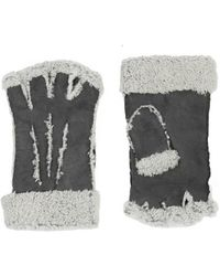 Maison Fabre Larzac Sheepskin Leather Mittens Gloves - Gray