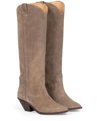 OU. Boutique Stories Arizona Boot Suede Taupe - Brown