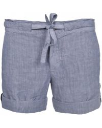 120% Lino - 120% Lino Bermuda Shorts In Medium Grey - Lyst
