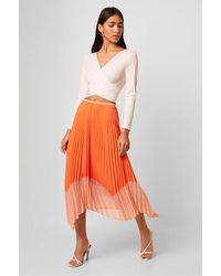 French Connection Ali Light Neon Pleated Skirt | - Orange