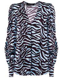 ANDAMANE Light Zebra Blouse - Blue