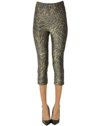 Ganni Animal Print Lamãƒâ ̈ Fabric leggings - Green
