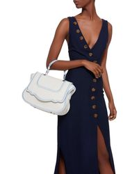 Thale Blanc Audrey Satchel: White Designer Handbag With Blue Stitching