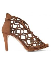 Sargossa Shoes Fairytale Gladiator High Heel Suede Tan Brown