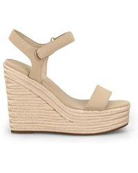 Kendall + Kylie Grand Suede Leather Wedge Sandals - Natural