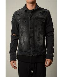 Thom Krom Ripped Denim Jacket Dark Grey Colour: Dark Grey,