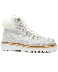 Lola Cruz Austin White Glitter Ankle Boots