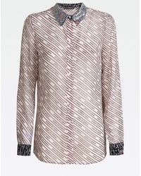 Guess All Over Striped Shirt With Sequin Collar - Pink