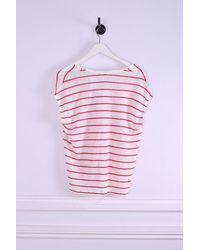 Hartford Tournol Stripe Linen V Neck Top - White