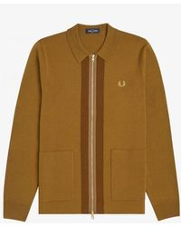Fred Perry Fred Perry Zip Through Cardigan - Brown