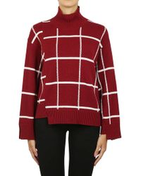 Mrz Windowpane Check Turtleneck Sweater - Red