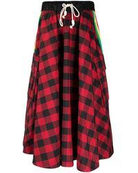 Palm Angels Midi Skirt Plaid - Red