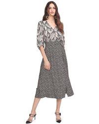Riani Wrap-around Dress With Giraffe Print - Black