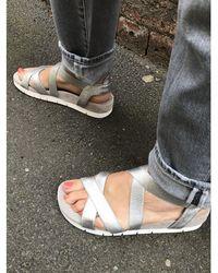 Unisa Coello Elastic Cross Sandals Silver - Metallic