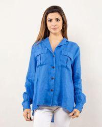 Bagutta Linen Shirt With Pockets - Blue