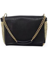 Laura B Maily Black/gold Leather Handbag