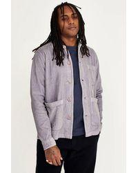 Wax London Wax Mens Chet Jumbo Cord Grey Overshirt - Purple