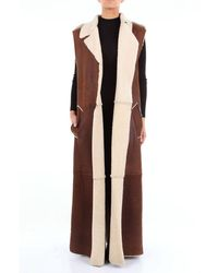 Marni Long Leather-colored Vest - Brown
