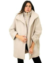 Herno Wool Coat Curly Gc0285d Champagne - Natural