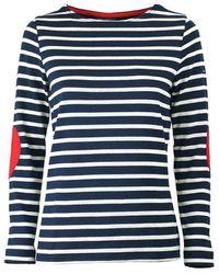 Saint James Vaujany Navy Blue Ecrãƒâtm Long Sleeve Shirt