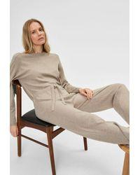 SELECTED Sand Melange Inka Cashmere Ls Knit Jumpsuit - Natural