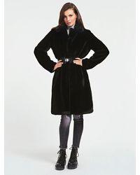 Guess Faux Fur Belted Coat - Black