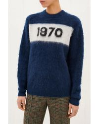 Bella Freud Navy 1970 Mohair Jumper - Blue