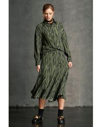 Luisa Cerano Animal Print Midi Skirt 10, - Green