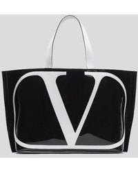 Valentino Garavani V Logo Large Pvc Tote - Black
