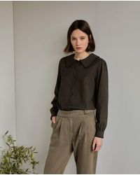 Yerse Maxi Collar Shirt - Brown