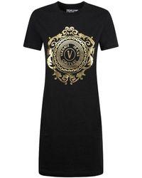 Versace Jeans Couture Black Dress Gold Logo Woman - White