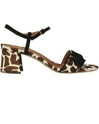 L'Autre Chose Animal Print Haircalf Sandals - Multicolour