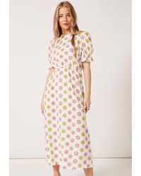 PHOEBE GRACE Tilly Round Necked Midaxi Puff Sleeved Dress White Daisy