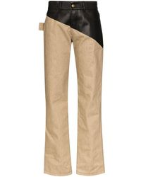 Bottega Veneta Leather-panelled Cotton Pants - Brown