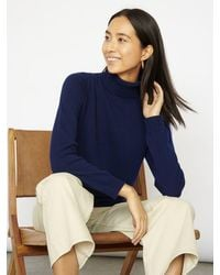 Cocoa Cashmere Essential Navy Cashmere Roll Neck - Blue