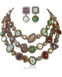 Thale Blanc Byzantine 3 Tier Necklace Earring Set - Metallic
