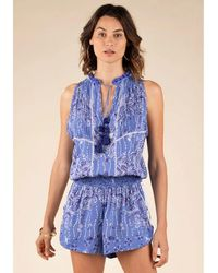 Poupette Bonnie Jumpsuit Blue Pineapple - White