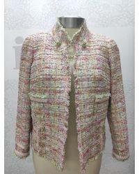 Edward Achour Paris Edward Achour Multi Jacket With Jewel Clasp 421004 - Pink
