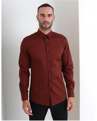 Antony Morato Slim Fit Mini Placket Long Sleeved Detailed Shirt Color - Red