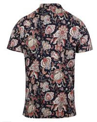 Stenströms Printed Paisley Cotton Polo Shirt 4400552468191 - Blue