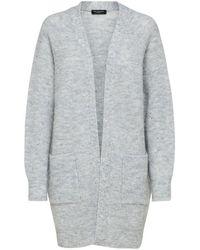 SELECTED Long Knit Cardigan - Light Gray