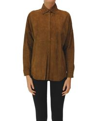 P.A.R.O.S.H. Shirt Style Suede Jacket - Brown