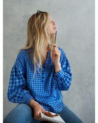 Nrby Heidi Brushed Cotton Check Shirt - Blue