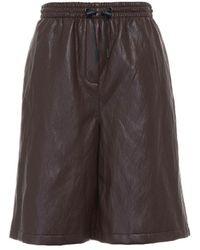 Erika Cavallini Semi Couture Bermuda In Eco Leather - Brown