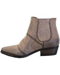Strategia Women's E741 Stud Western Ankle Gold Boot - Metallic