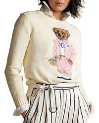 Ralph Lauren - Women's 211838006001 White Cotton Sweater - Lyst