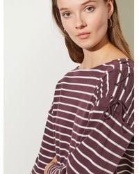 Great Plains - Lace Up Top In Bordeaux And Milk - Lyst