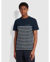 Farah Florida Slim Fit Striped Organic Cotton T-shirt - Blue